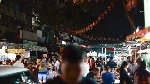 KUALA LUMPUR,MALAYSIA - CIRCA July 2016 :People enjoy food on jalan alor food street
