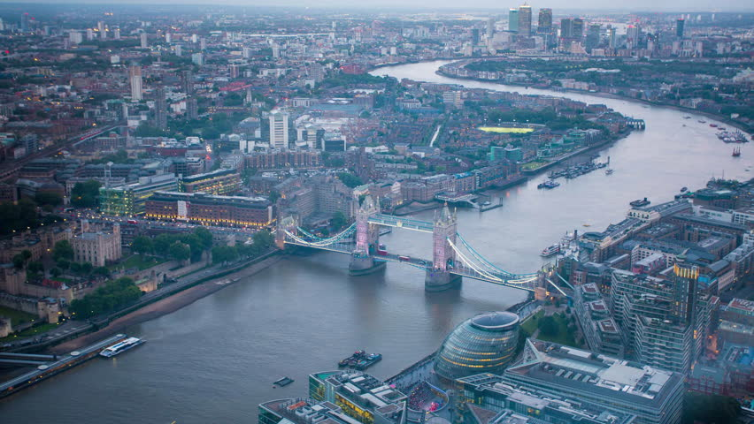 London tower bridge,central London time lapse aerial view .