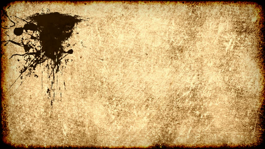 Stock Video Clip of Ink stains on old grungy worn paper ...