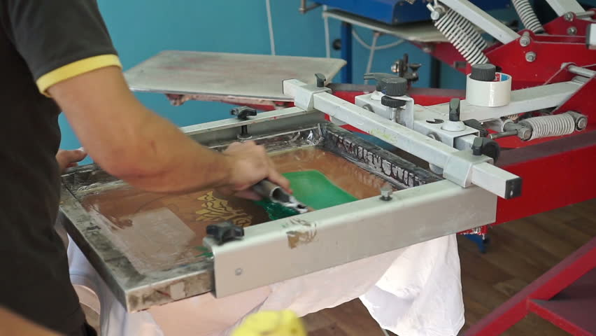 T Shirt Screen Printing Machine Stock Video Footage