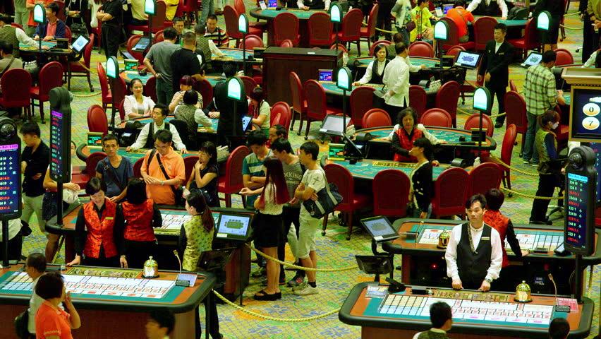 CHINA, MACAU - OCTOBER 2015: Sic Bo Poker & Black Jack Tables; Venentian Casino Macau China