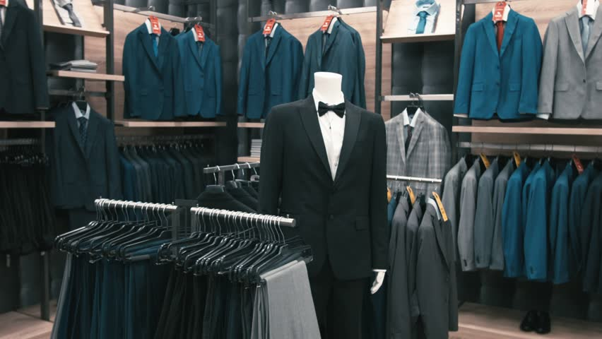 Interior Of Men's Clothing Store. Men's Suits. Men's ...