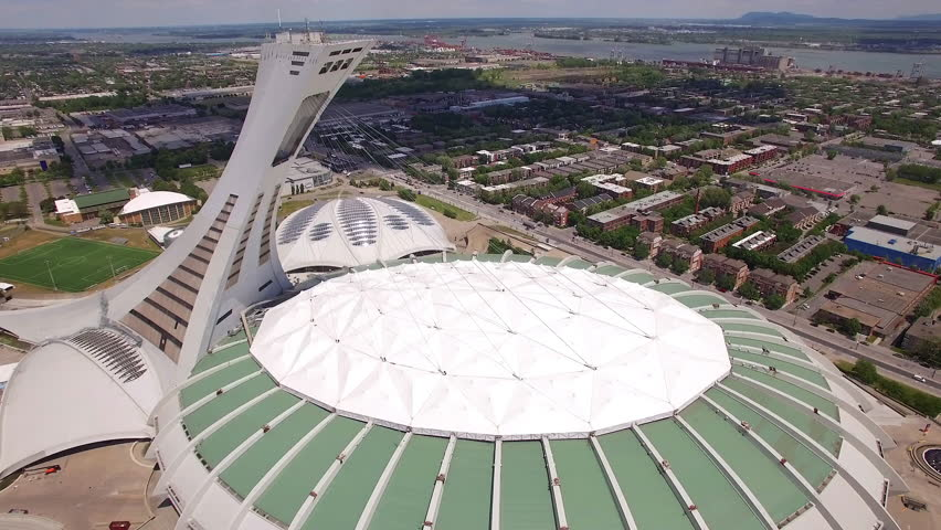 Montreal, Canada - July 28: Aerial view of Montreal Olympic Stadium in Montreal, Quebec, Canada.