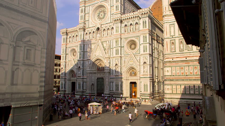 Crowds Of Tourists At Cathedral Di Santa Maria Del Fiore; Florence Tuscany Italy | Shutterstock HD Video #18958616
