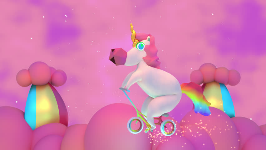 3D Cartoon Magic Unicorn And Rainbow Clouds Animation. Cute and mythical horse riding on a bike and having fun playing in the sky, Glowing spark lights particle effect trail. | Shutterstock HD Video #18982366