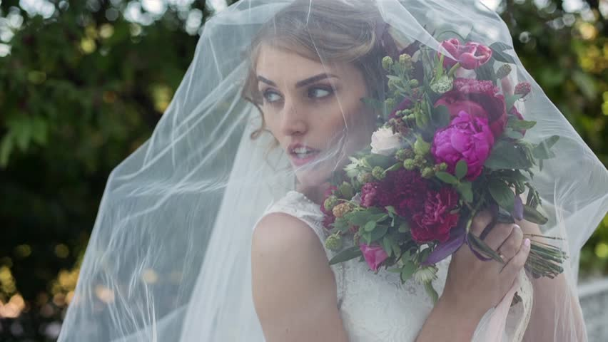 Beauty Bride In Bridal Gown Stock Footage Video 100 Royalty Free
