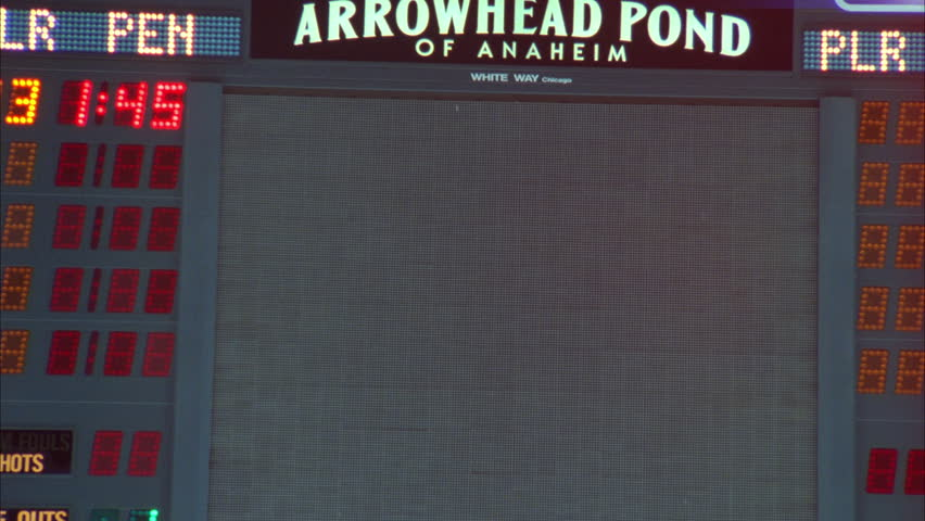 Interior arena XCU up Arrowhead Pond Anaheim jumbotron scoreboard w no image it font color black b NO Clearance needed Arena name, Team namesponsoremoved t street not visible
