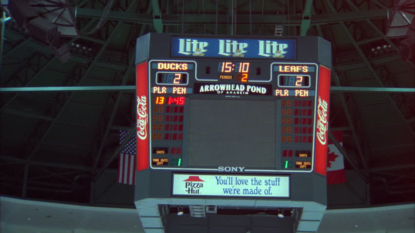 Interior arena wider up Arrowhead Pond Anaheim jumbotron scoreboard w no image it font color black b NO Clearance needed Arena name, Team namesponsoremoved street not visible