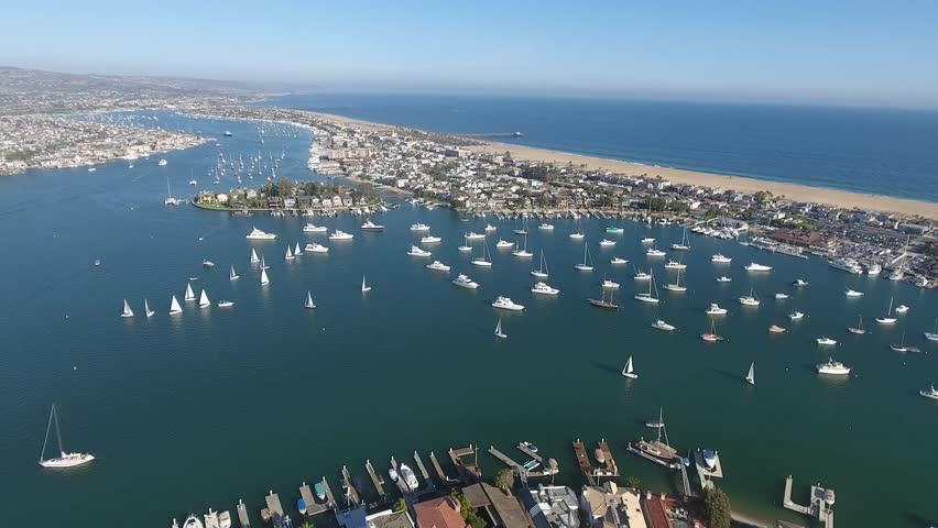 Newport Beach, Harbor Aerial View  with Sailboats