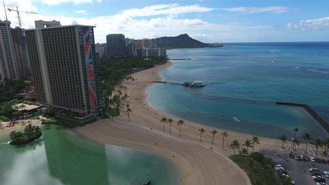 Waikiki Beach, Honolulu, Hawaii Aerial in front of the Hilton Hawaiian village