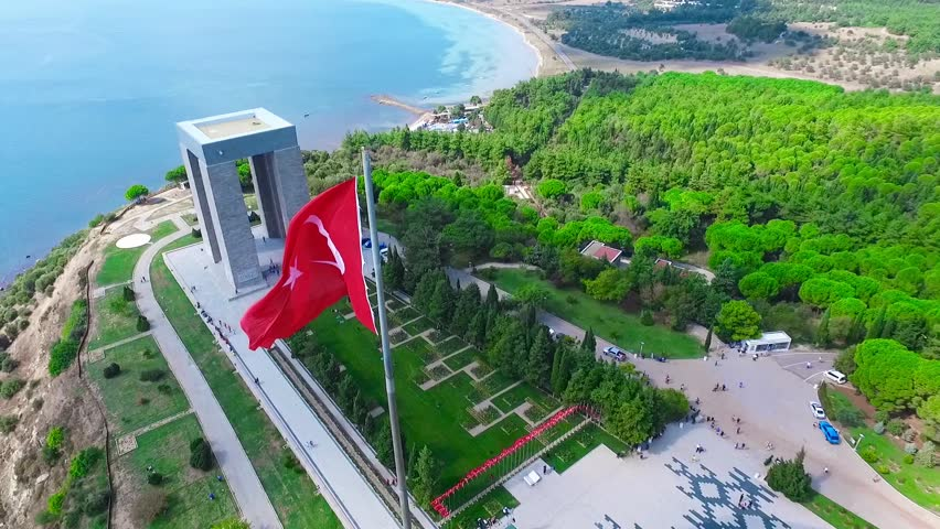 Canakkale, Turkey - October.04, 2015 : The Canakkale Martyrs Memorial is a war memorial commemorating the service of about Turkish soldiers who participated at the Battle of Gallipoli.