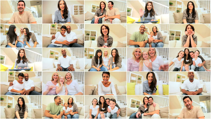 Multiple montage images of multi ethnic families &  friends communicating using modern online video chat