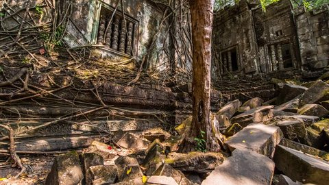 Overgrown ruins of the Khmer temple of Beng Mealea near Siem Reap, Cambodia