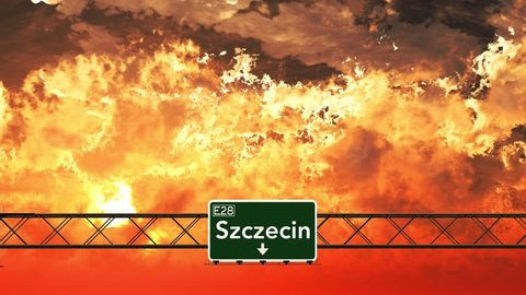 4K Passing Szczecin Poland Highway Sign in the Sunset 3D Animation