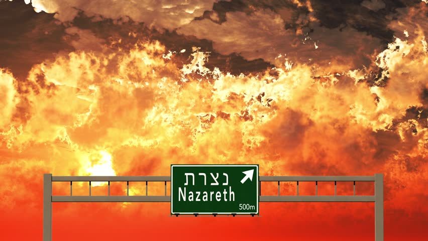 4K Passing Nazareth Israel Highway Sign in the Sunset 3D Animation