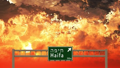 4K Passing Haifa Israel Highway Sign in the Sunset 3D Animation