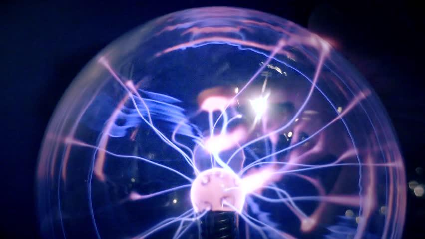 Plasma Ball Lamp Energy, Hand Touching Glowing Glass Sphere ...