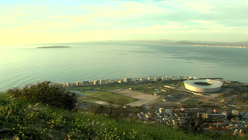 green point in cape town, with robbe island