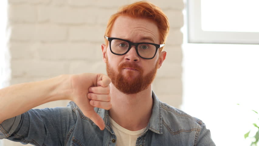 Reaction of Loss,Thumbs Down, Unsatisfied Man with Beard and Red Hairs, Portrait