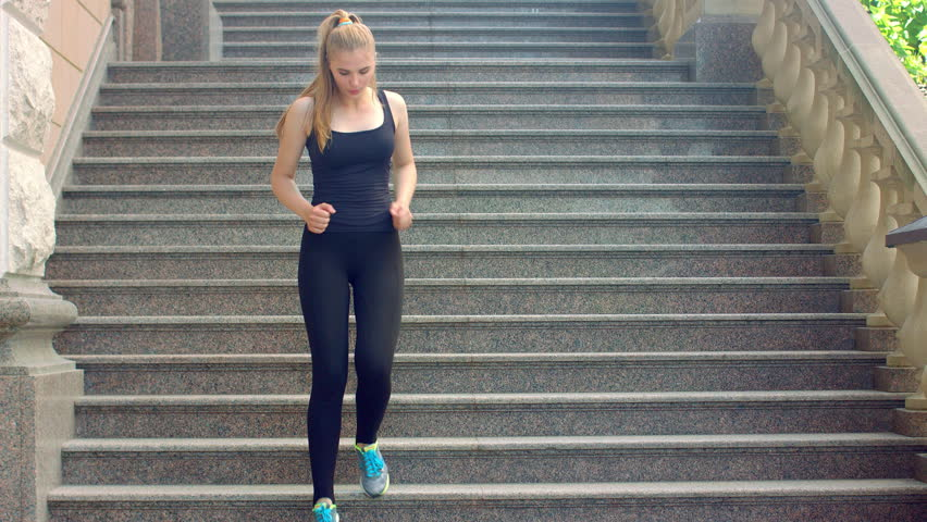 Image result for woman running down stairs