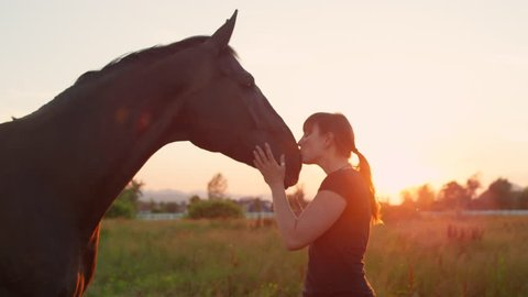 SLOW MOTION CLOSE UP: Young female rider petting and kissing her beautiful dark bay horse at sunset. Cheerful cowgirl feeding treats and caressing black stallion on sunny meadow field at golden light