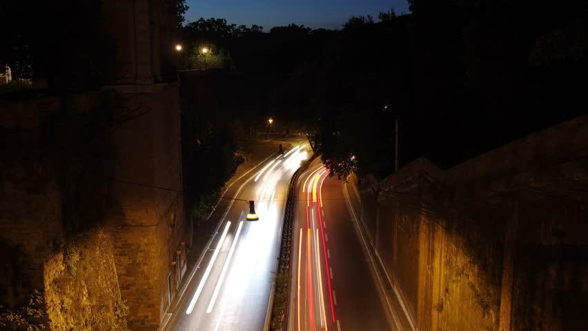 Viale del Muro Torto seen from the viaduct linking the Giardini del Pincio and the gardens of Villa Borghese at Night, Rome, Italy