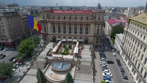 4K Aerial Shot Of The Romanian Flag In Bucharest City Center