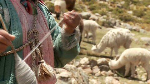 Farmer spinning yarn while sheep graze