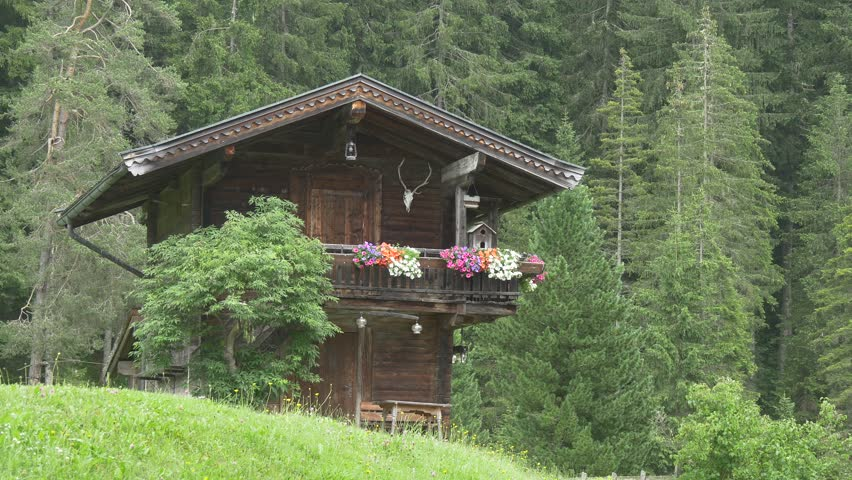 Stock Video Clip Of Traditional Austrian House Wooden Hut In The