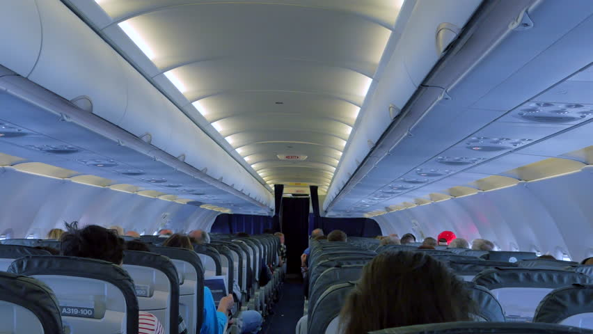 Stock Video Clip Of 4K Airplane Interior, Passenger Aircraft, Seats And |  Shutterstock