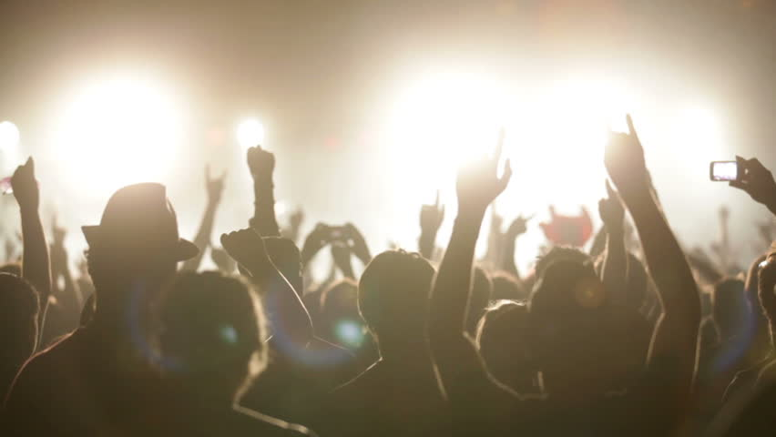 Footage of a crowd partying at a rock concert #1935826