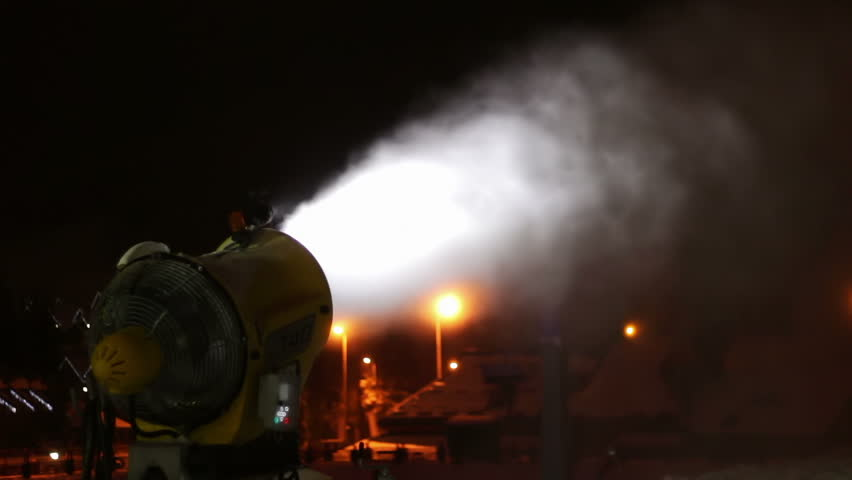 Snow cannons are working at night. | Shutterstock HD Video #19364536