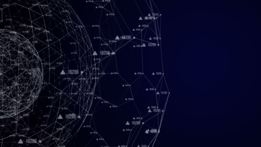 Global connection hologram.Animation on the left side of the screen.Plexus with digital numbers and text.Great for tech title and background, news headline business intro screensaver.Blue.  | Shutterstock HD Video #19379656