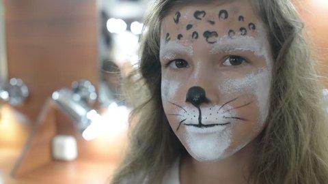 Bodyart makeup for Carnival and Halloween for little girl