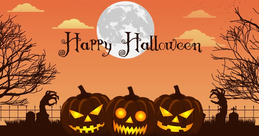Happy Halloween Background Animation With Moon Stock Footage Video ...