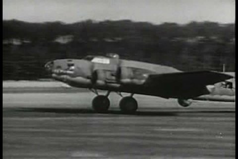 Footage of B-17 airplanes flying in formation is accompanied by narration recounting successful missions of the US Airforce using the Flying Fortresses during the 1940s. (1940s)