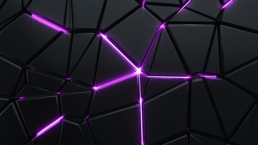 Abstract background with animation moving of dark triangles with glowing light from backdrop. Technologic backdrop with plastic surface. Animation of seamless loop. | Shutterstock HD Video #19444456
