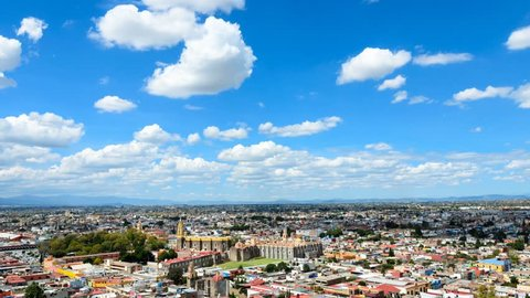 CHOLULA, MEXICO, 16 OCTOBER, 2015: Aerial view to Cholula town
