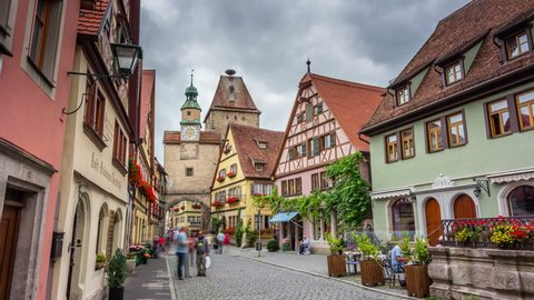 ROTHENBURG OB DER TAUBER, GERMANY - JULY 29, 2016: Hyperlapse video of the historic town of Rothenburg ob der Tauber, Bavaria, Germany. Timelapse view in 4K.