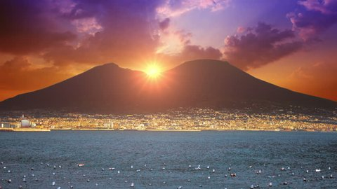 4K Naples Skyline Landscape Italy,  sunset on the background of Vesuvius