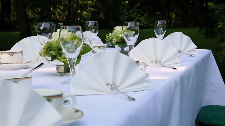 Outdoor Table Setting At Wedding Reception By The Sea. Wedding ...