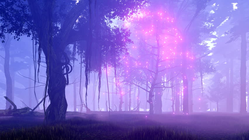 Dreamlike woodland scene with ghost dead tree surrounded by magical firefly lights in a spooky misty night forest. Realistic 3D animation rendered in 4K, ultra high definition. | Shutterstock HD Video #19644709
