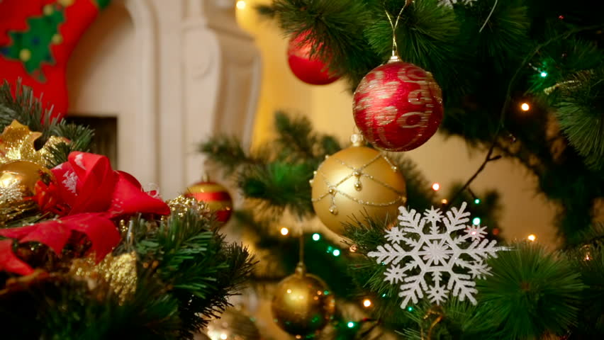 christmas tree decorations on star shaped background - Videos Of Decorated Christmas Trees
