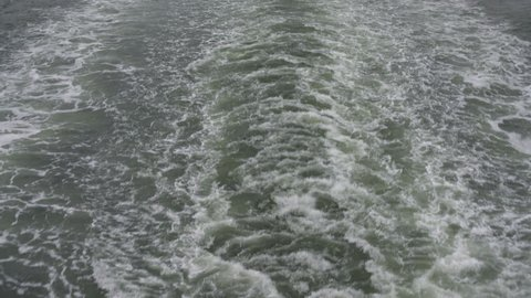 Waves in the wake of a ferry across New York Harbor