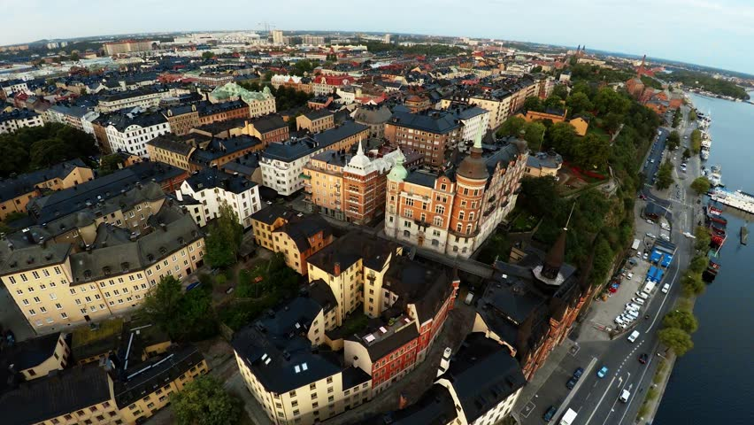 Aerial view. Stockholm. Old houses, buildings and streets. City center. Sweden. Shot in 4K (ultra-high definition (UHD). | Shutterstock HD Video #19711246