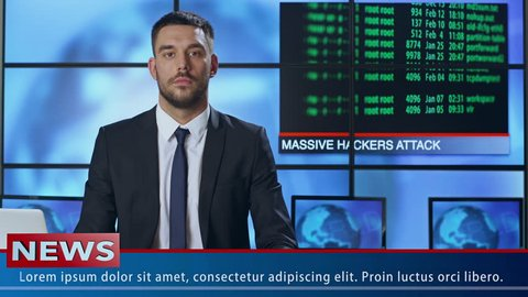 Male News Presenter Speaking About Hacker Attack. Shot on RED Cinema Camera in 4K (UHD).