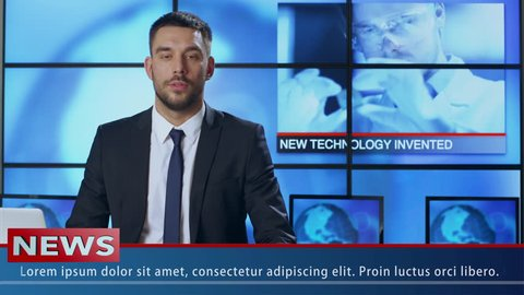 Male News Presenter Speaking about Breakthrough in Technology. Shot on RED Cinema Camera in 4K (UHD).