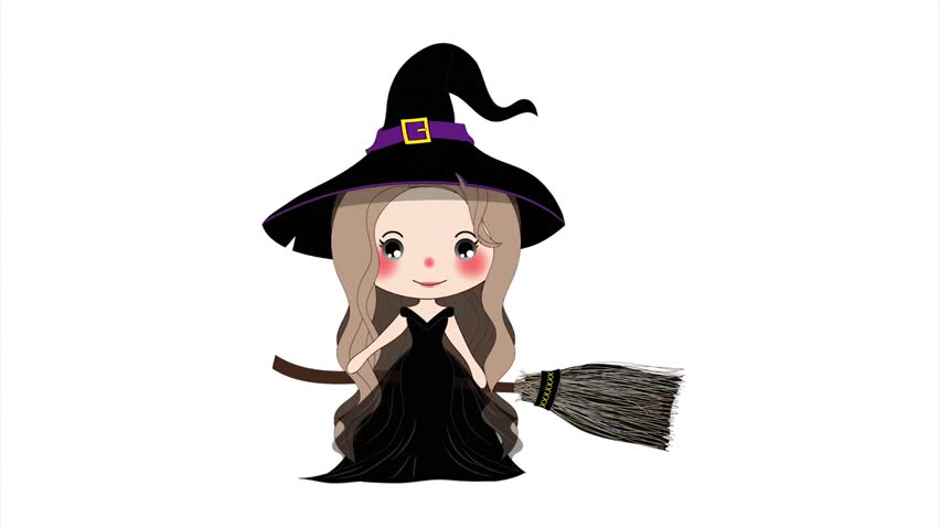 halloween witch flying with broom and hat beautiful young woman on boomstick on a white - Flying Halloween Witch