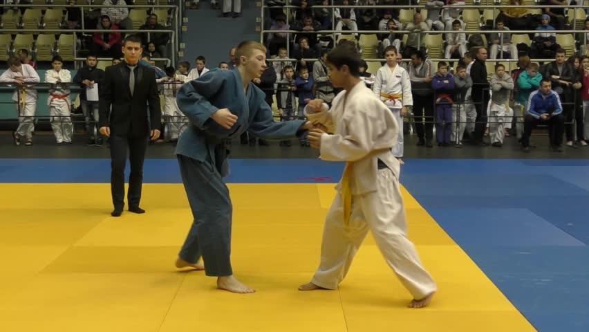 Orenburg, Russia - 5 February 2016: Boys compete in judo at the Championship of the Orenburg region on Judo boys 2002-2003 biennium of birth