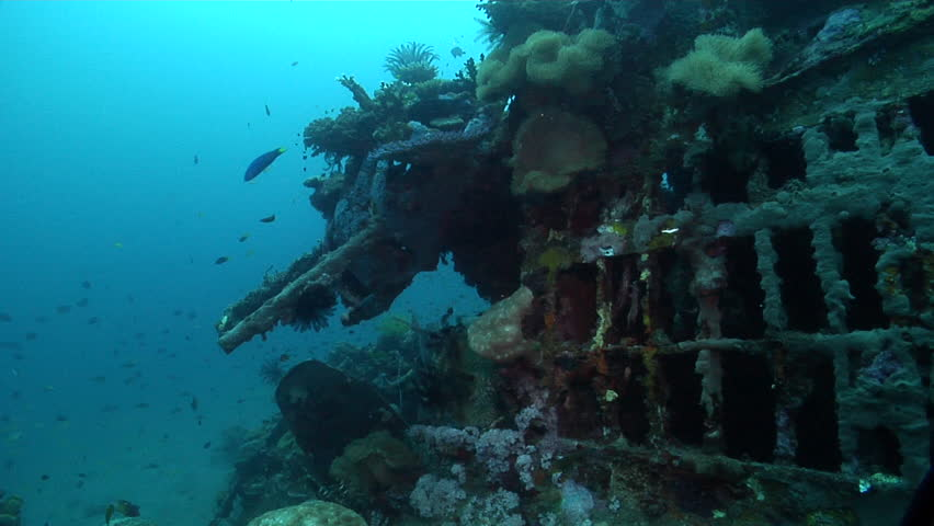 Ocean scenery B17, pan from gun turrent to along fuselage, on wreckage, HD, UP18432